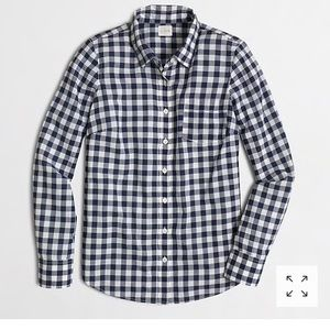 J.Crew Gingham navy /white button down. Size PS